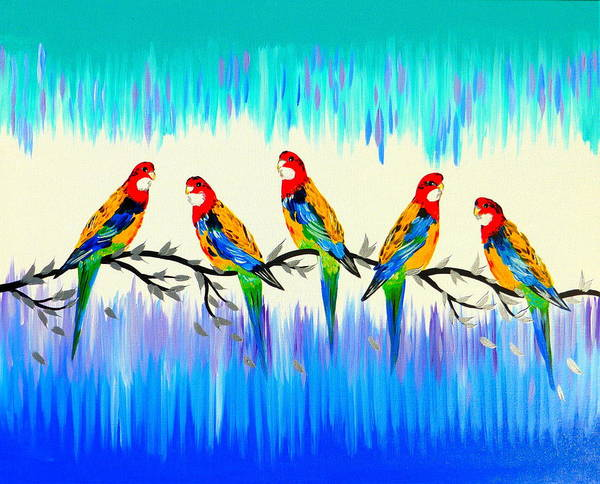 Cathy Painting - Rosellas by Cathy Jacobs