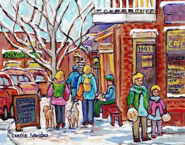 Painting - Rosemont Petite Patrie Montreal Art Winter Montreal Painting L'etincelle Cafe Rue Beaubien C Spandau by Carole Spandau