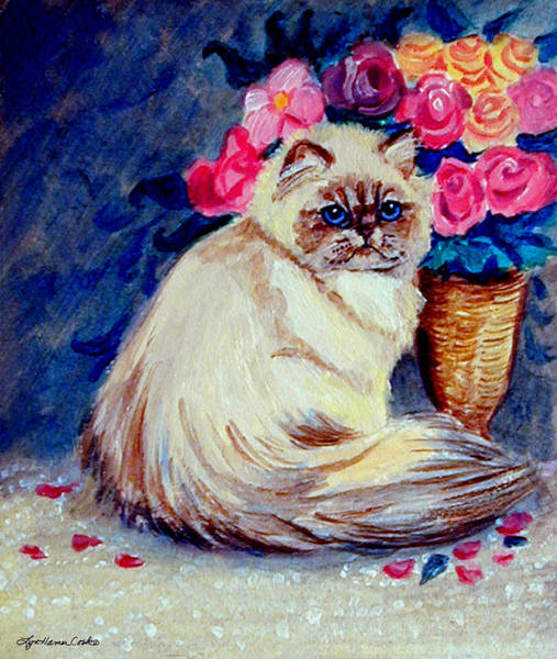 Wall Art - Painting - Roses - Himalayan Cat by Lyn Cook