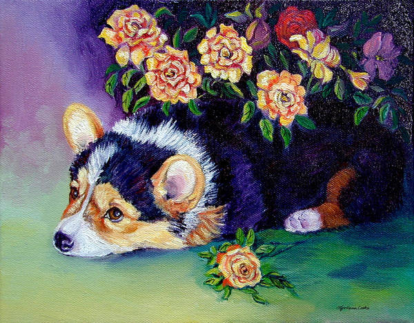 Wall Art - Painting - Roses - Pembroke Welsh Corgi by Lyn Cook