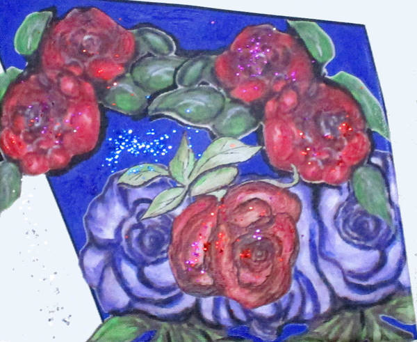 Mixed Media - Roses And Blue by Clyde J Kell