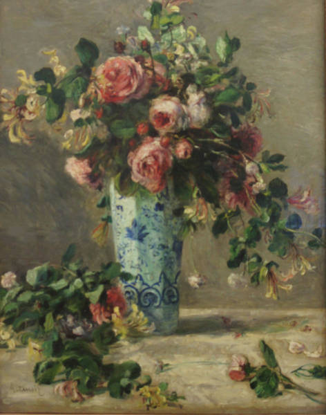 Roses And Jasmine In A Delft Vase Art Print by Pierre Auguste Renoir