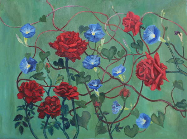 Painting - Roses And Morning Glories by Vera Smith