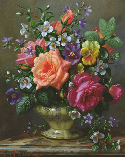 Wall Art - Painting - Roses And Pansies by Albert Williams