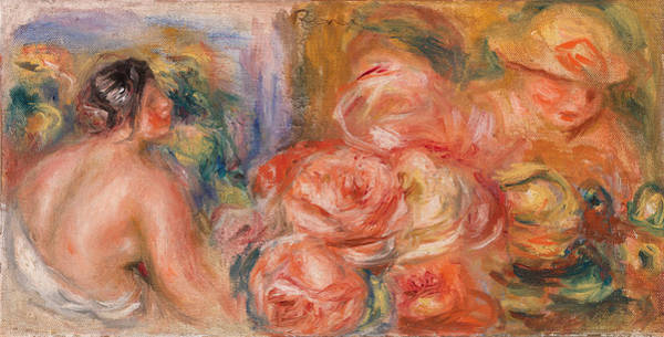 Wall Art - Painting - Roses And Small Nude by Pierre-Auguste Renoir