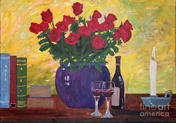 Wall Art - Painting - Roses And Wine by Aat Kuijpers