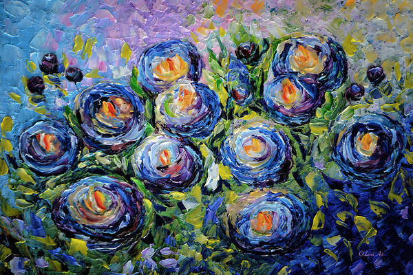 Painting - Roses Are Blue  by OLena Art - Lena Owens