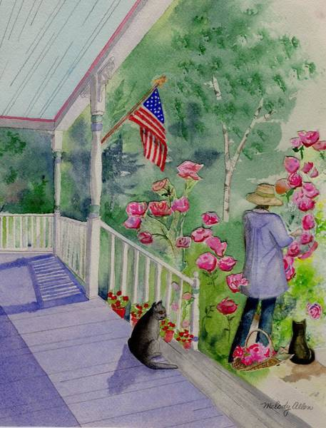 Wall Art - Painting - Roses At Dusk by Melody Allen