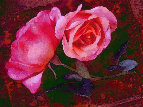 Digital Art - Roses Beautiful Pink Vegged Out by Catherine Lott