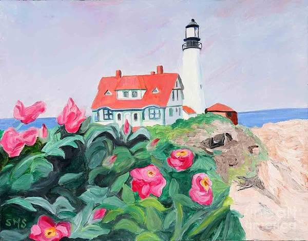 Painting - Roses At Portland Headlight by Stella Sherman