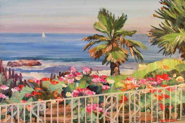 Laguna Beach Painting - Roses By The Sea Laguna Beach 2 by Robert Gerdes