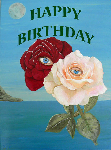 Painting - Roses Happy Birthday by Eric Kempson