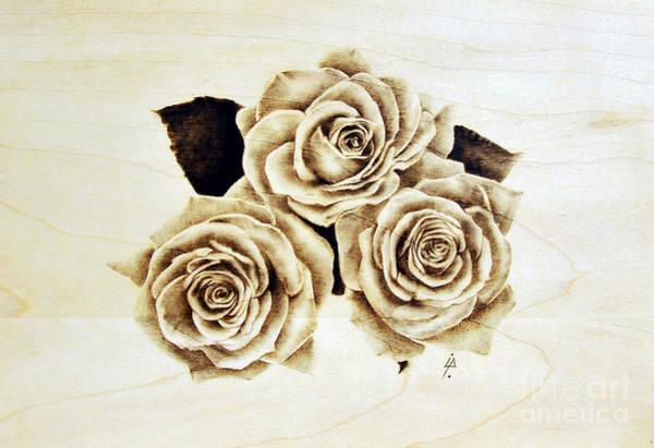 Pirografia Wall Art - Pyrography - Roses by Ilaria Andreucci