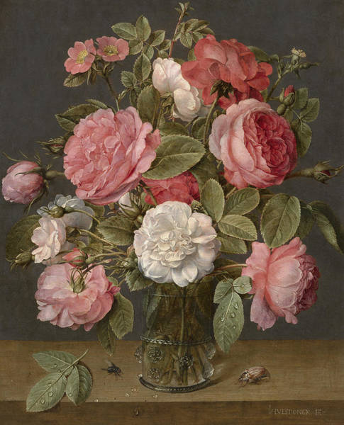 Rosaceae Wall Art - Painting - Roses In A Glass Vase by Jacob van Hulsdonck