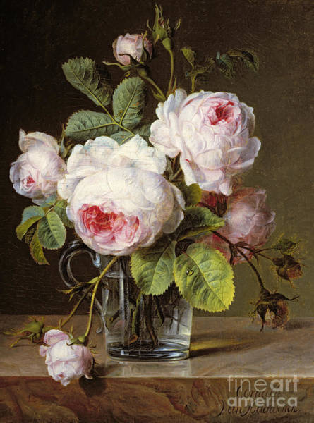 Posy Wall Art - Painting - Roses In A Glass Vase On A Ledge by Cornelis van Spaendonck