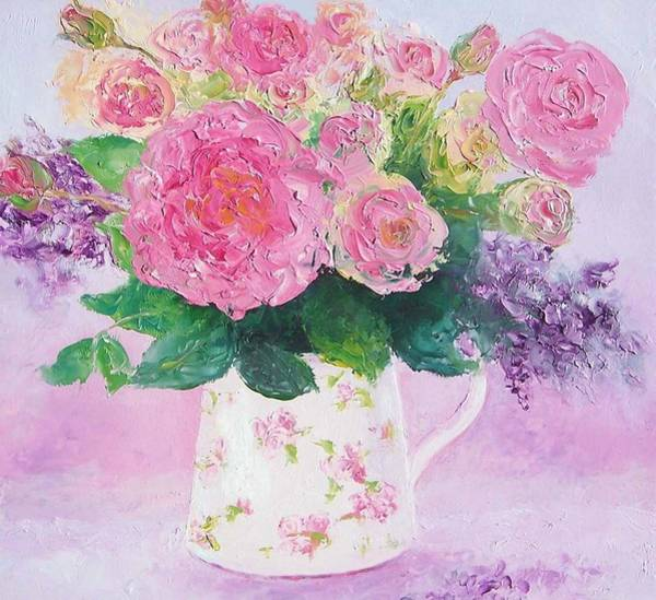 Floral Shower Curtain Painting - Roses In A Pink Floral Jug by Jan Matson