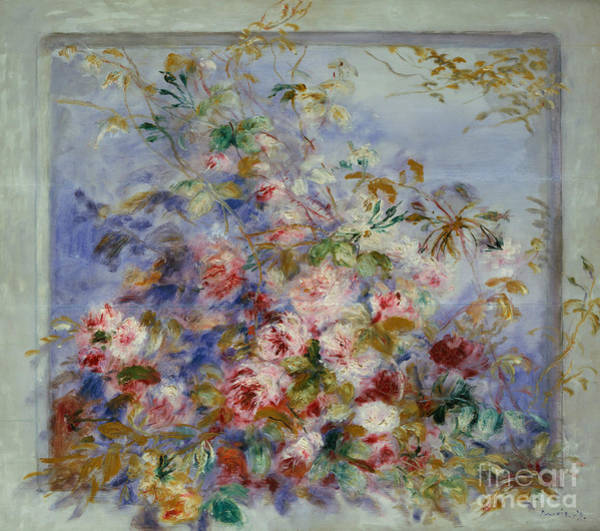 Window Frame Painting - Roses In A Window by Pierre Auguste Renoir