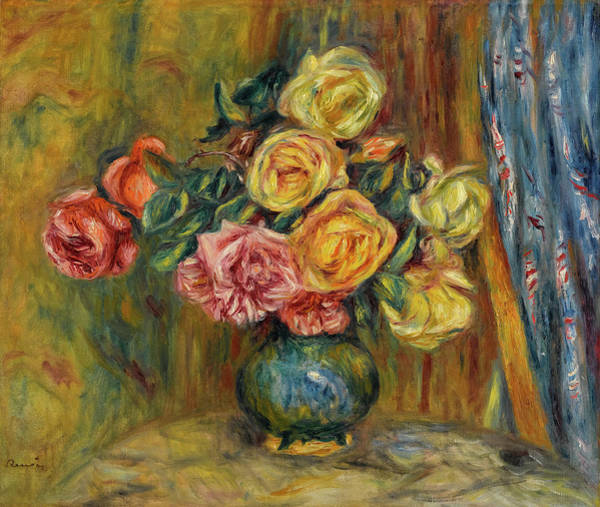 Wall Art - Painting - Roses In Front Of A Blue Curtain by Pierre-Auguste Renoir