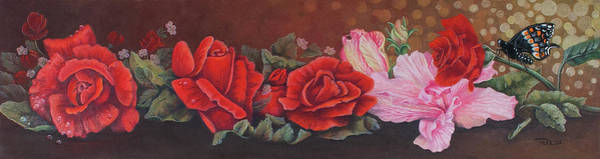 Wall Art - Drawing - Roses In Red by Teresa Frazier