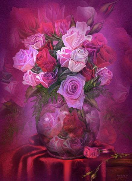 Romantic Flower Mixed Media - Roses In Rose Vase by Carol Cavalaris