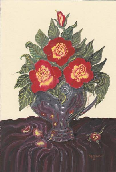 Painting - Roses In Silver Vase by Regina Taormino