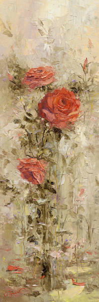 Russian Impressionism Wall Art - Painting - Roses In The Garden by Oleg Trofimoff