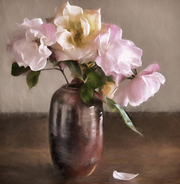 Yellow Rose Photograph - Roses In Vase Painterly by Carol Leigh