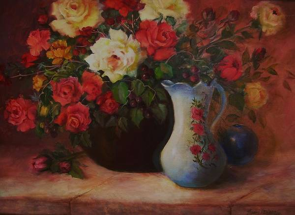 Art Print featuring the painting Roses N'blue by Naomi Dixon