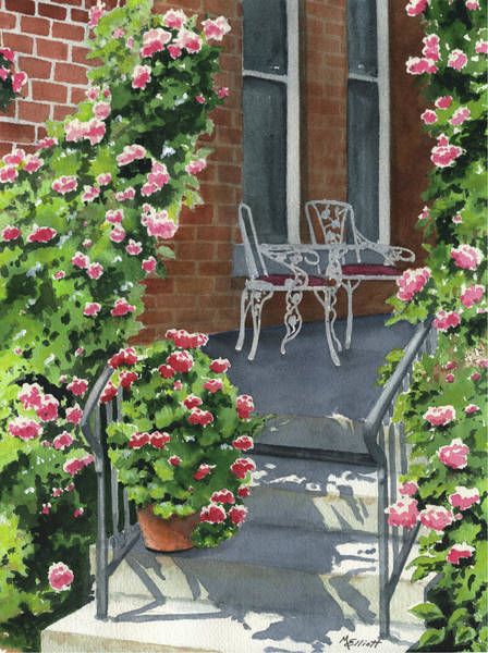 Porch Wall Art - Painting - Roses On High St by Marsha Elliott