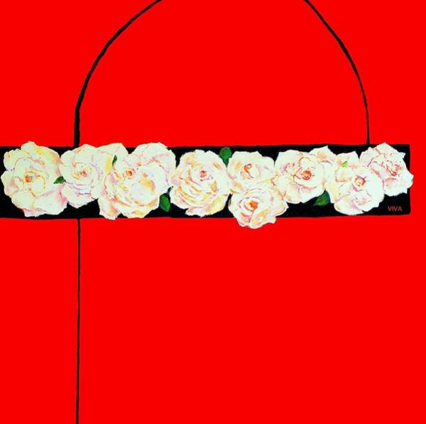 Painting - Roses On Red by VIVA Anderson