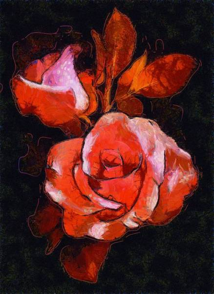 Digital Art - Roses Painted And Drawn by Catherine Lott