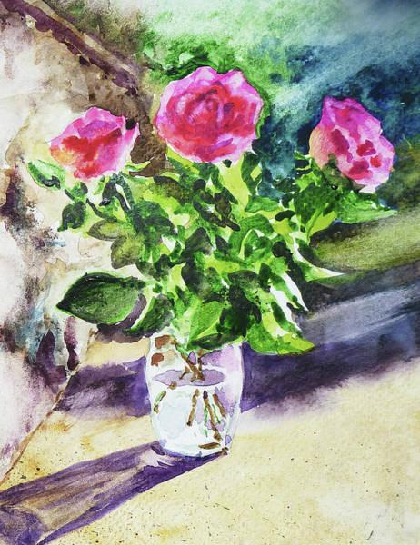Painting - Roses Shadows Impressionism by Irina Sztukowski