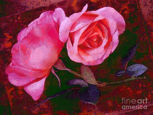 Painting - Roses Silked Pink Vegged Out by Catherine Lott