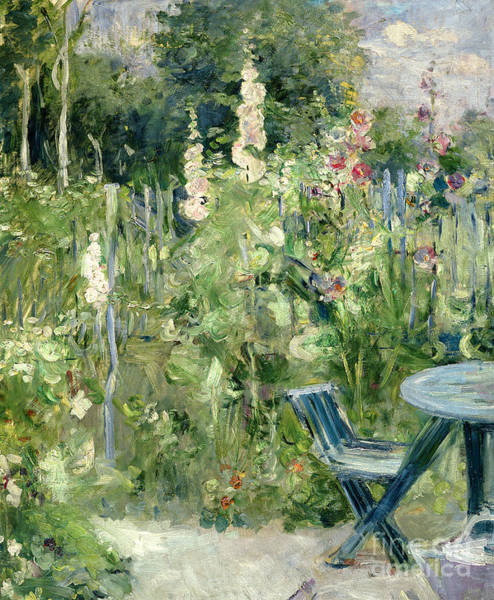Bed Painting - Roses Tremieres by Berthe Morisot