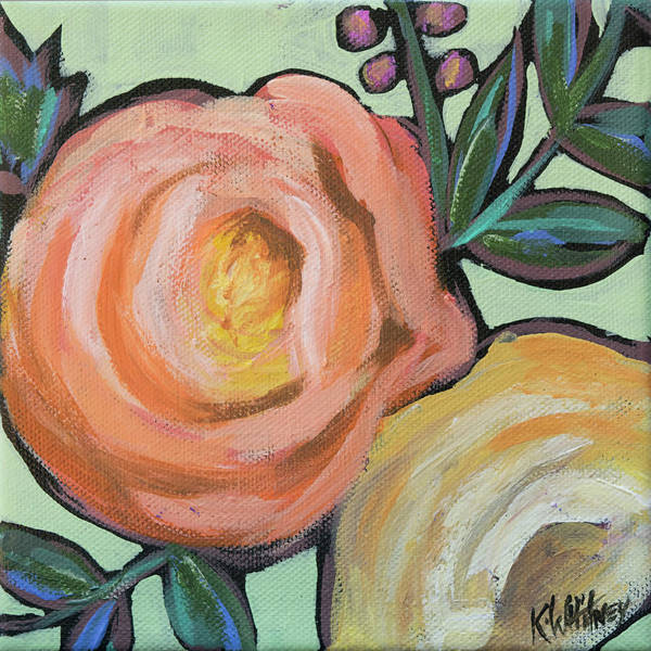 Gold Leaves Painting - Rosey Duo by Kristin Whitney