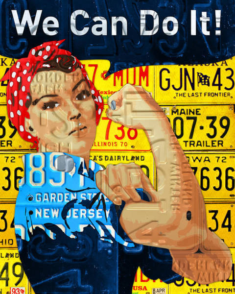 Rosie Wall Art - Mixed Media - Rosie The Riveter We Can Do It Promotional Poster Recycled License Plate Art by Design Turnpike