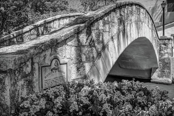 Photograph - Rosita's Bridge - San Antonio Texas Riverwalk - Black And White by Gregory Ballos
