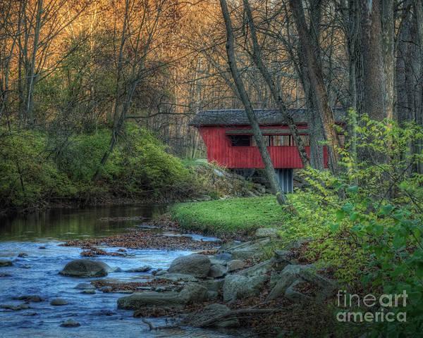 Red Covered Bridge Photograph - Ross Covered Bridge by Pamela Baker