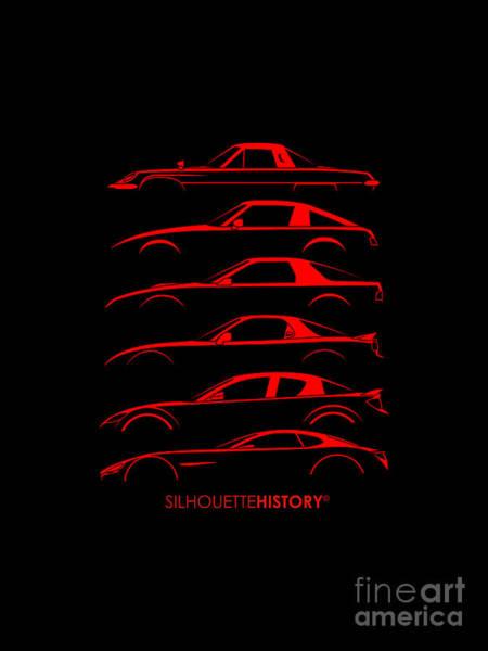 Japanese Art Digital Art - Rotary Sports Car Silhouettehistory by Gabor Vida