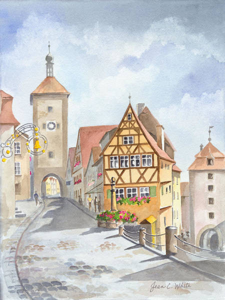 Germany Wall Art - Painting - Rothenburg In Germany by Jean Walker White