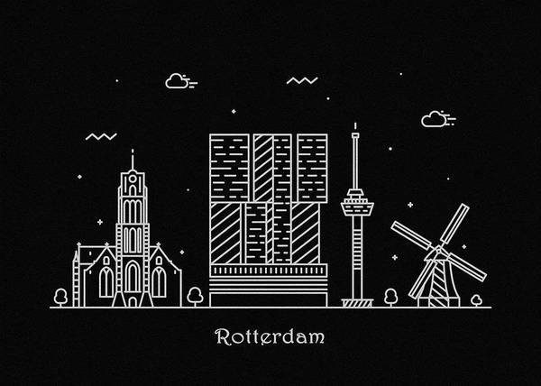Wall Art - Drawing - Rotterdam Skyline Travel Poster by Inspirowl Design
