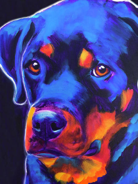 Wall Art - Painting - Rottweiler - Dexter Serious by Alicia VanNoy Call