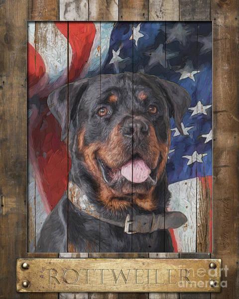 Digital Art - Rottweiler Flag Poster by Tim Wemple