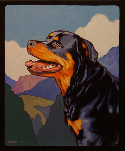 Rottweiler Painting - Rottweiler In Rottweil by Shawn Shea