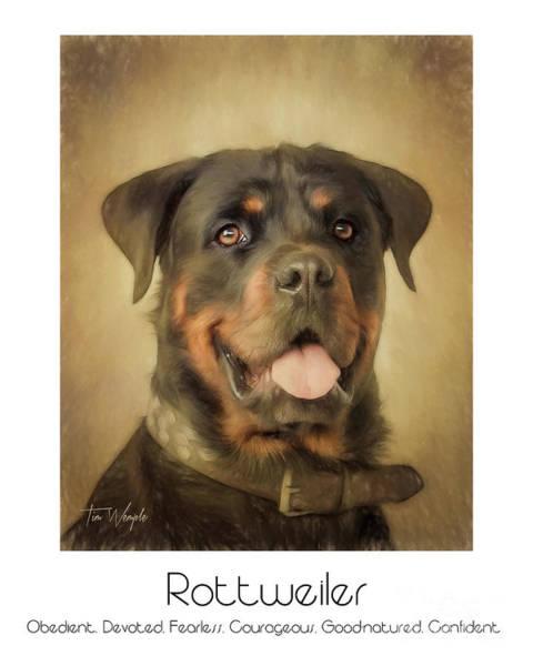 Digital Art - Rottweiler Poster by Tim Wemple