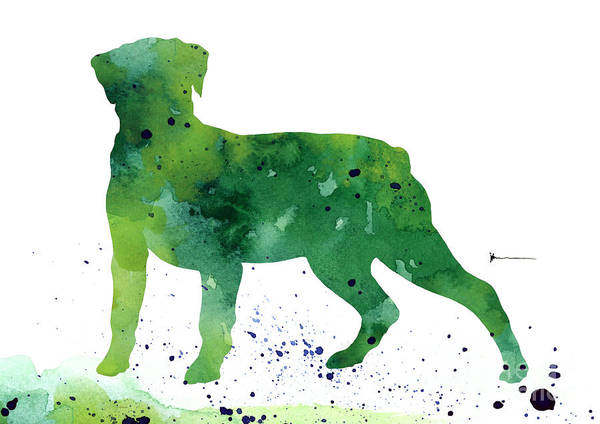 Rottweiler Painting - Rottweiler Silhouette Abstract Poster by Joanna SzmerdtRottweiler silhouette abstract poster