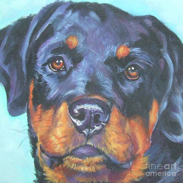 Wall Art - Painting - Rottweiler Teen Doggie by Lee Ann Shepard