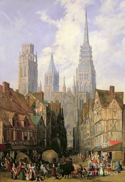 Cathedral Painting - Rouen Cathedral by Lewis John Wood