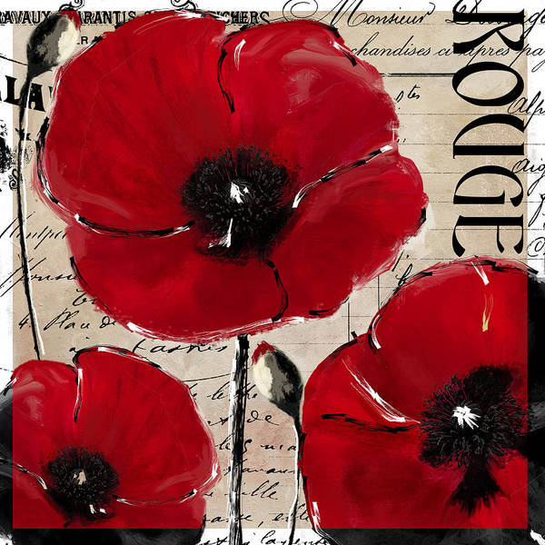 Pavot Wall Art - Painting - Rouge I Poppy by Mindy Sommers