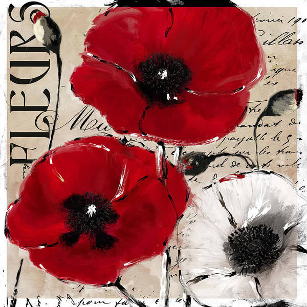 Pavot Wall Art - Painting - Rouge II Poppies by Mindy Sommers
